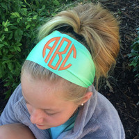 Monogram Non Slip MINT colored Headband  Font shown NATURAL CIRCLE in coral