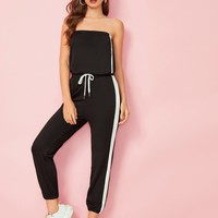 Cut And Sew Tube Top With Drawstring Waist Sweatpants
