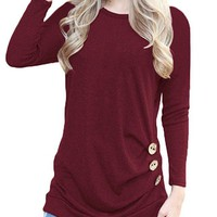 Round Neck  Plain Tops