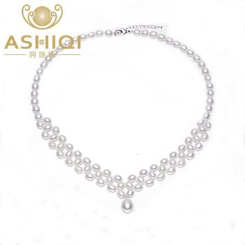 ASHIQI Natural Freshwater Pearl Necklace with Genuine 925 Sterling silver clasp Pearl Jewelry for women bride Wedding