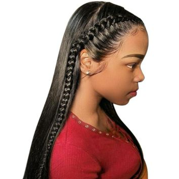 Cool 360 Lace Frontal Wigs 150% Pre Plucked Brazilian Remy Straight Lace Front Human Hair Wigs With Bleached Knots With Full EndAT_93_12