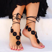Barefoot sandals crochet black nude shoes by Lasunka on Etsy