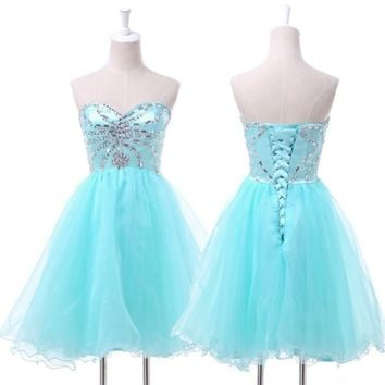 CRYSTAL BEAD Prom Evening HOMECOMING BRIDAL Cocktail Quinceanera MINI Dress