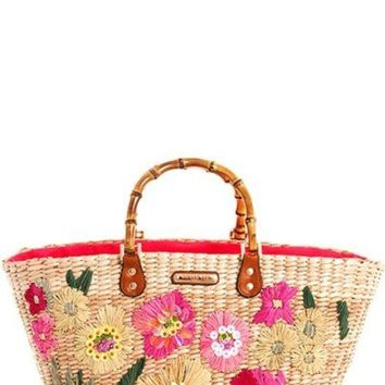 Nicole Lee Chic Flower Straw Woven Shopper Bag