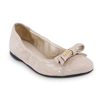 Prada Women's Patent Leather Logo Bow Scrunch Ballet Flat, Cipria