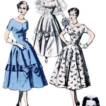1950s WEDDING Bridesmaid Cocktail Evening Dress Gown Fit Flare Bust 31 Designer Sylvia Franklin ADVANCE 6711 UNCUT Vintage Sewing Pattern