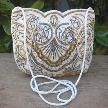 Vintage Carla Marchi Heavily Beaded White Evening Handbag Clutch | MissPurses - Bags & Purses on ArtFire