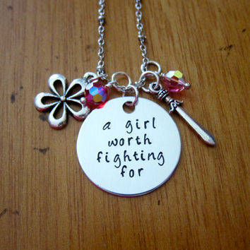 "Disney's ""Mulan"" Inspired Necklace. A Girl Worth Fighting For. Silver colored, Swarovski crystals, for women or girls. Hand stamped."