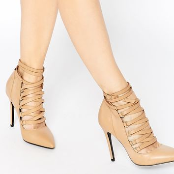 ALDO Zelicia Tan Suede Ghillie Tie Heeled Shoes