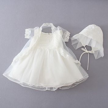 new baby dress with Hat  beige Embroidery lace baby girl christening gowns 1 year birthday dress baby girls clothes for 0-18M