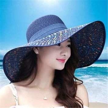 DCCKWJ7 2016 Straw Hats For Women's Female Summer Ladies Wide Brim Beach Hats Sexy Chapeau Large Floppy Sun Caps New Brand Spring Praia