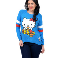 Royal Blue & White Crew Neck Hello Kitty Long Sleeve College Sweater