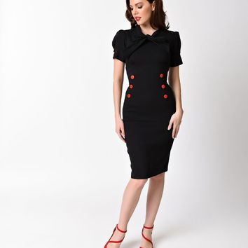 1950s Style Black Stretch Short Puff Sleeve Collar Tie Wiggle Dress