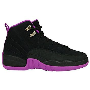 air 12 retro black metallic gold star hyper violet suede basketball shoes womens