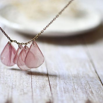 pressed flowers resin jewelry, real petal necklace, pale pink