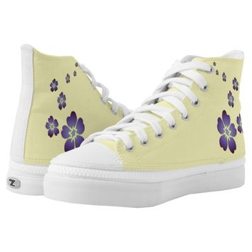 Purple Flowers Printed Shoes