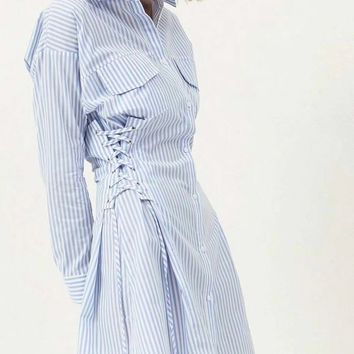Blue Stripe Lace Up Side Long Sleeve Shirt Dress