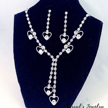 Dangling Hearts Rhinestone and AB Crystal Prom Party Necklace and Earring Set