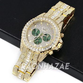 Iced Raonhazae Lab Diamond Drake 14K Gold /Green Plated Watch with Stone