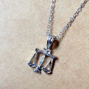 Scales of Justice Necklace: Libra pendant, Candor Faction charm, Zodiac Sign / Astrology jewelry