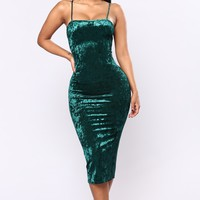 Ziba Velvet Dress - Hunter Green