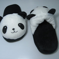 Cute Panda House shoes, Kawaii shoes, Cute shoes, plushies, house shoes, home shoes, flats, wool slippers, panda bear