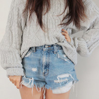 Classic Grey Cable Knit Sweater   Vagabond Youth