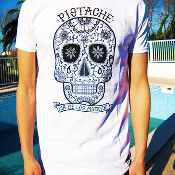 SUGAR SKULL T SHIRT white top mens screen printed clothing folk art tattoo mexican native american aztec 80s 90s custom funny retro hip hop