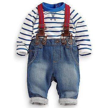 2016 Fashion Newborn Baby Kids Boy Girls Spring Long Sleeve Clothes Stripe Top + Jeans Pants 2pcs Sets Outfits 3 6 12 24 Monthes