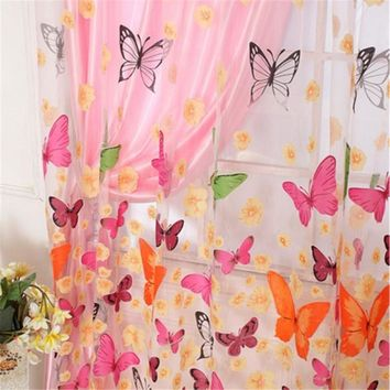 Home Curtains Washable Sheer Voile Curtain Butterfly Print Panel Window Drape Room Divider 2M*1M