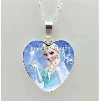 2016 New Snow Queen Heart Necklace Snow Queen Heart Pendant Jewelry Murano Glass Heart Necklace HZ3