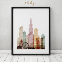 Chicago watercolor skyline print, watercolor poster, Wall art, Illinois  cityscape poster typography art digital watercolor ART PRINTS VICKY