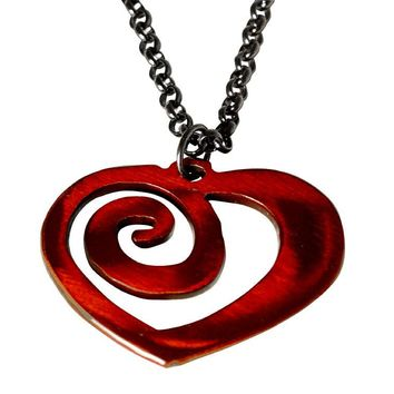 Watto Distinctive Metal Wear Necklace - Heart Chain. Distressed Red