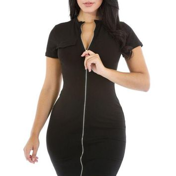 ONETOW Black Funky Zip or Not Dress