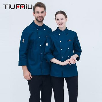 M-3XL New Arrival Chef Uniform Long-sleeved Double Breasted Chef Jacket Kitchen Bakery Sushi Restaurant Workwear Cooking Clothes