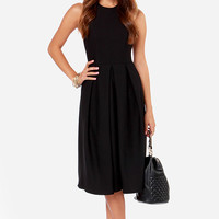 LULUS Exclusive Halter-native Girl Backless Black Midi Dress