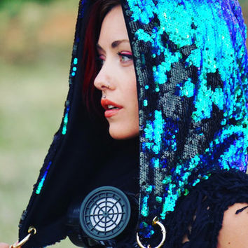 Two Tone Mermaid Sequin Hood, Purple Green Blue Shimmer Sequin wih Matte Black Reversible Hood, Gypsy Festival Funky Style