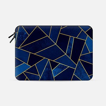 "Blue Stone / Gold Lines Macbook Pro 15"" sleeve by Elisabeth Fredriksson 