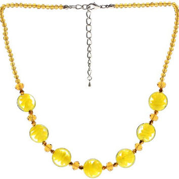 "Lova Jewelry ""Golden Rain"" Hand-Blown Venetian Murano Glass Necklace"