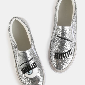 Embroidered Glitter Slip On Sneakers SILVER | MakeMeChic.COM
