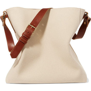 Lanvin - New Hobo leather-trimmed cotton-canvas tote