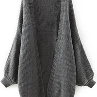 Grey Long Sleeve Knit Cardigan