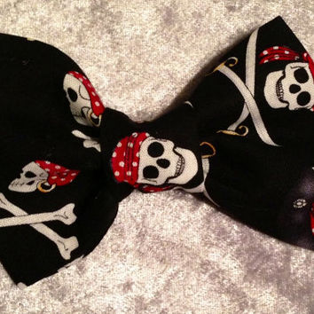 Black Pirate Bow tie, Pirate hair Bow - clip on - Infant, Toddler, Child, Adult - pretied bow tie - Halloween