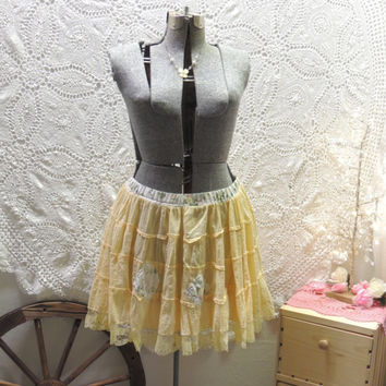 Upcycled Recycled Repurposed Skirt / M-L Yellow Shabby Eco Bohemian Chic Skirt /Handmade Upcycled Clothing / Summer Boho Skirt /TatteredFX