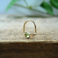 Nose Screw Hook Stud Peridot 3mm