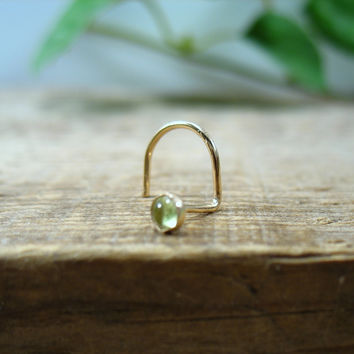 Nose Stud Screw Hook Peridot Gold