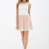 LOVE 21 Pleated Lace Colorblock Dress Ivory/Blush