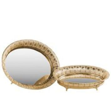Pierced Metal Round Tray with Mirror Surface Set of 2 - Gold - Benzara