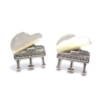 Musical Instrument Themed Grand Piano Shaped Stud Earrings in Silver