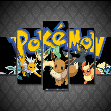 Wall Art Painting 5 Piece Canvas Art  Home Decor HD Print Cute Pokemon Anime Kids Wall Pictures For Room Artwork Hanging